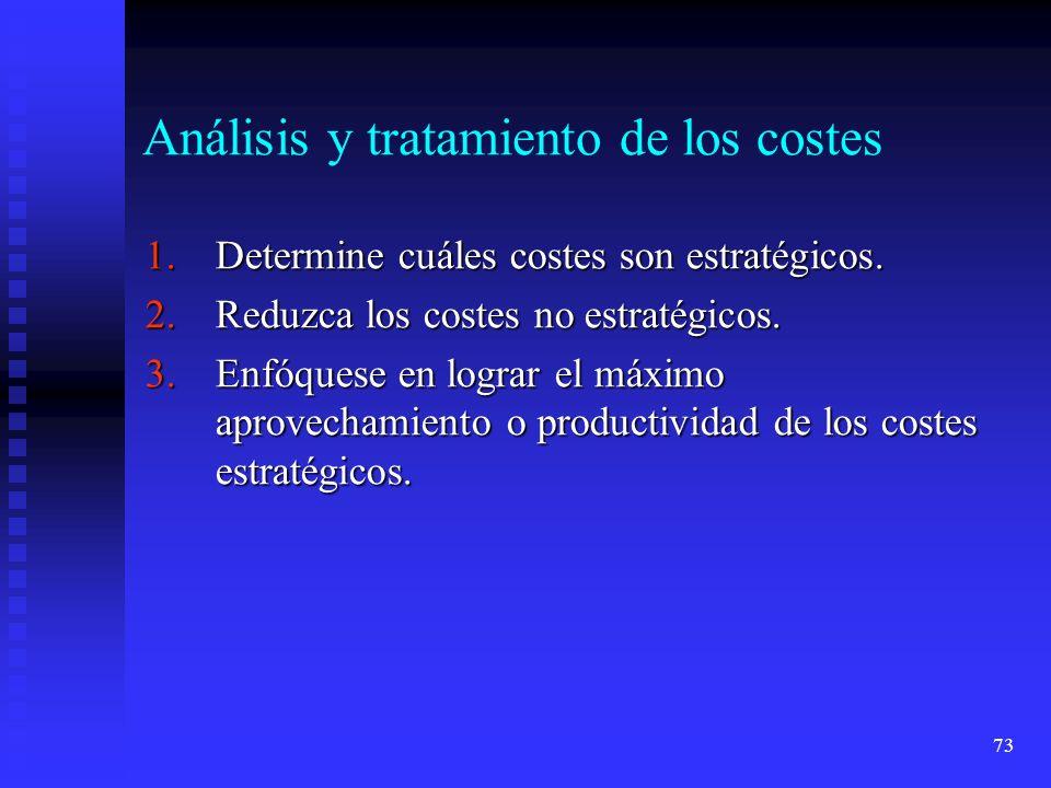 73 Análisis y tratamiento de los costes 1.Determine cuáles costes son estratégicos. 2.Reduzca los costes no estratégicos. 3.Enfóquese en lograr el máx