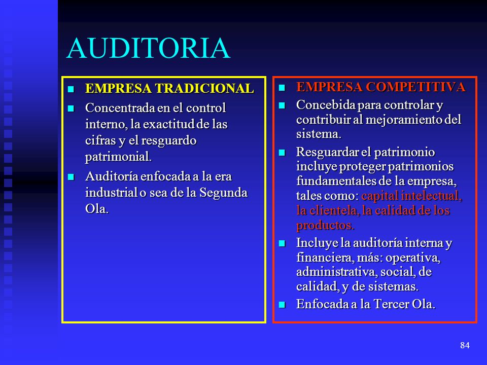 84 AUDITORIA EMPRESA TRADICIONAL EMPRESA TRADICIONAL Concentrada en el control interno, la exactitud de las cifras y el resguardo patrimonial. Concent
