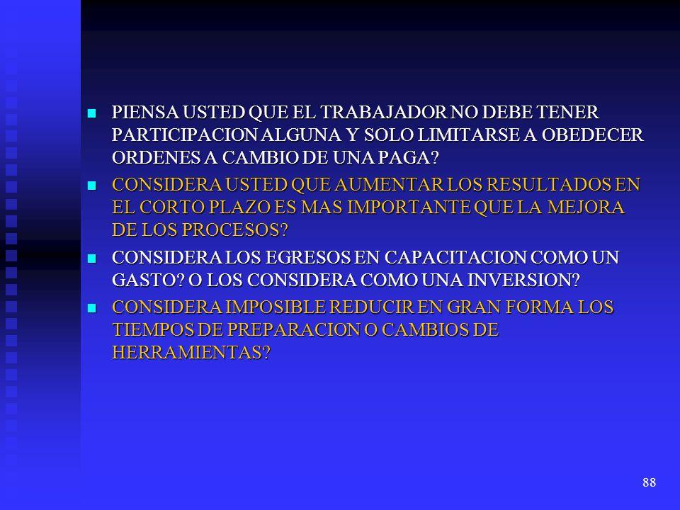 88 PIENSA USTED QUE EL TRABAJADOR NO DEBE TENER PARTICIPACION ALGUNA Y SOLO LIMITARSE A OBEDECER ORDENES A CAMBIO DE UNA PAGA? PIENSA USTED QUE EL TRA