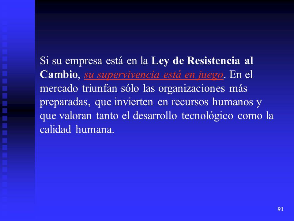 91 Si su empresa está en la Ley de Resistencia al Cambio, su supervivencia está en juego. En el mercado triunfan sólo las organizaciones más preparada