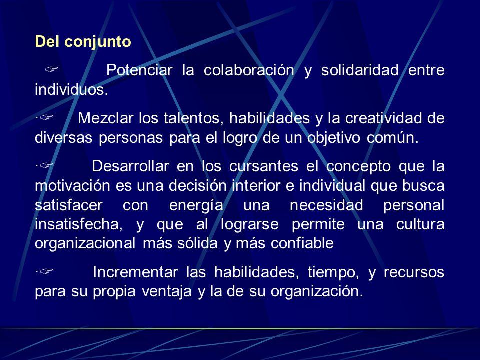 De manera Individual Desarrollar en los participantes sus mejores habilidades, su propio talento y la capacidad creativa necesaria para la búsqueda de