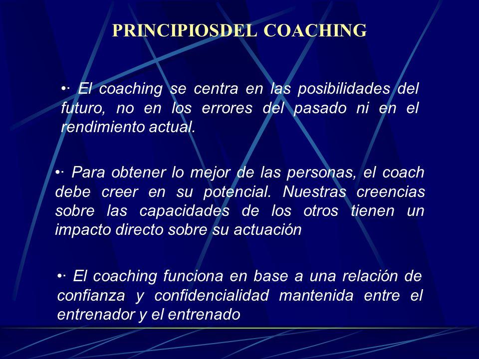 PRINCIPIOSDEL COACHING · El coaching se centra en las posibilidades del futuro, no en los errores del pasado ni en el rendimiento actual.