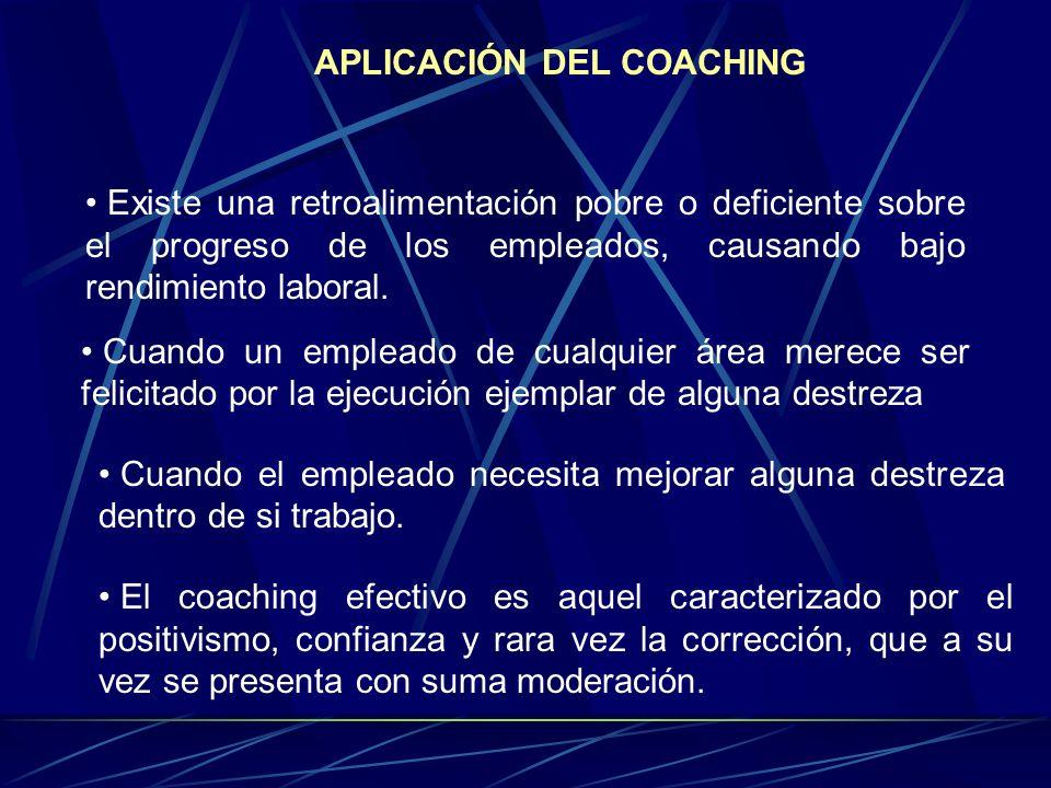 El coaching se aplica cuando existe una retroalimentación pobre o deficiente sobre la mejora de los empleados, causando así un bajo rendimiento laboral, cuando el empleado necesita mejora alguna destreza dentro de si trabajo.