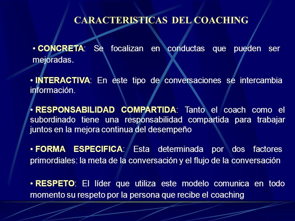 CARACTERISTICAS DEL COACHING CONCRETA: Se focalizan en conductas que pueden ser mejoradas.