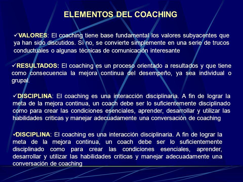 ELEMENTOS DEL COACHING VALORES: El coaching tiene base fundamental los valores subyacentes que ya han sido discutidos.