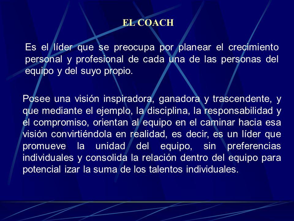 EL COACH Es el líder que se preocupa por planear el crecimiento personal y profesional de cada una de las personas del equipo y del suyo propio.