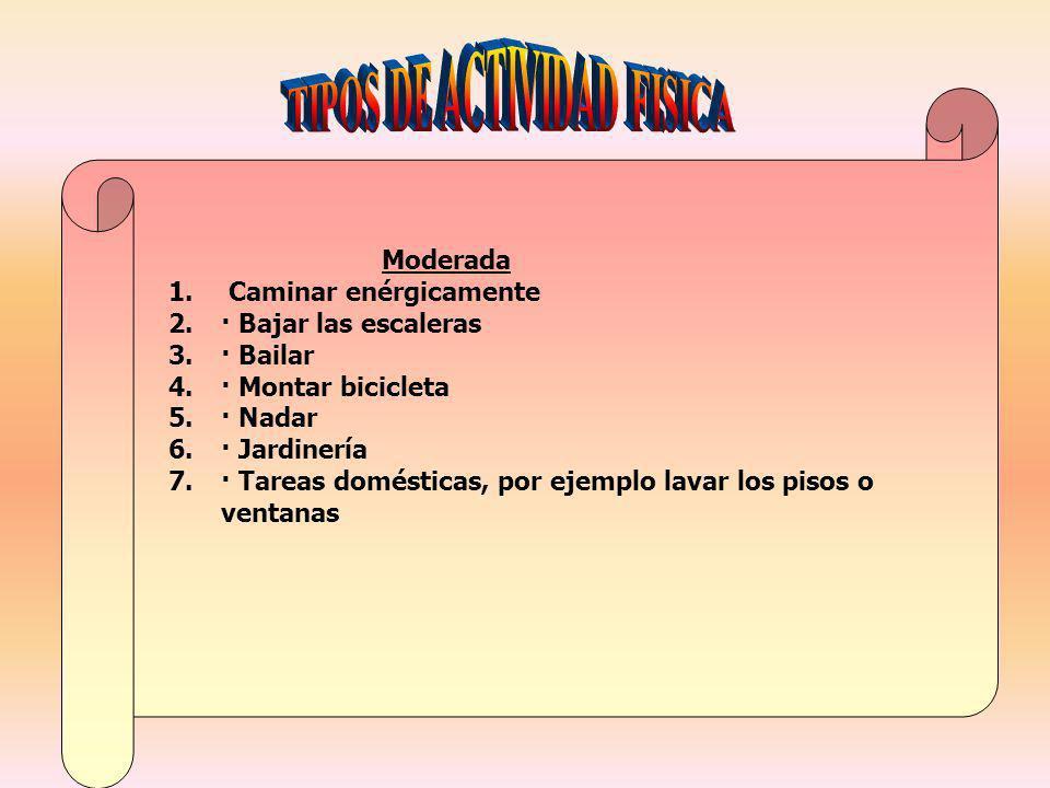 Moderada 1. Caminar enérgicamente 2.· Bajar las escaleras 3.· Bailar 4.· Montar bicicleta 5.· Nadar 6.· Jardinería 7.· Tareas domésticas, por ejemplo