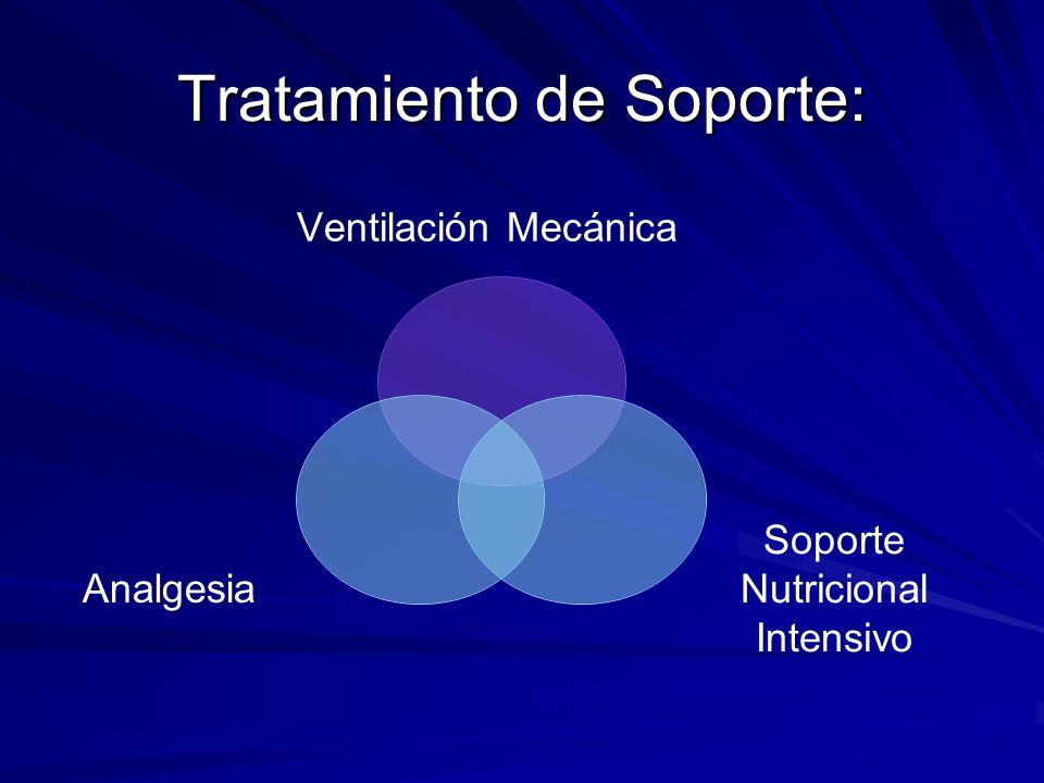 Tratamiento de Soporte: Ventilación Mecánica Soporte Nutricional Intensivo Analgesia