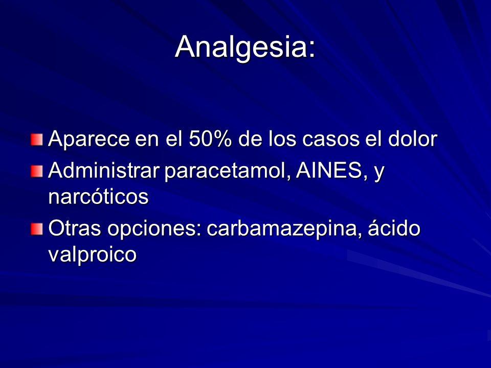 Analgesia: Aparece en el 50% de los casos el dolor Administrar paracetamol, AINES, y narcóticos Otras opciones: carbamazepina, ácido valproico