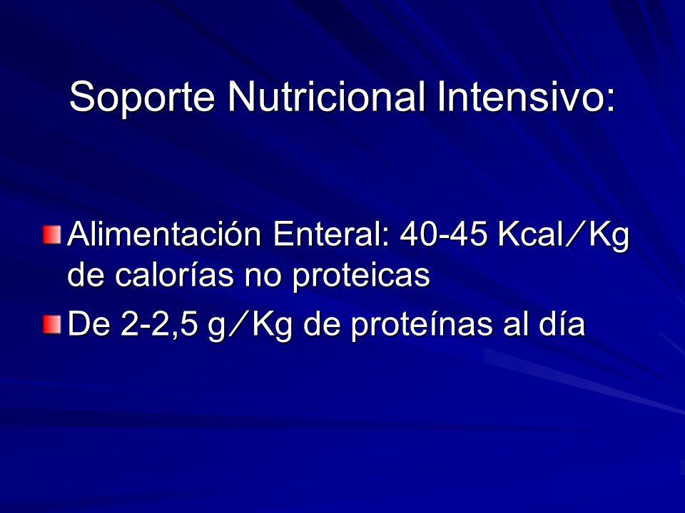 Soporte Nutricional Intensivo: Alimentación Enteral: 40-45 Kcal Kg de calorías no proteicas De 2-2,5 g Kg de proteínas al día