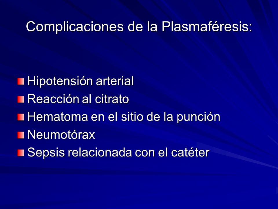 Complicaciones de la Plasmaféresis: Hipotensión arterial Reacción al citrato Hematoma en el sitio de la punción Neumotórax Sepsis relacionada con el c