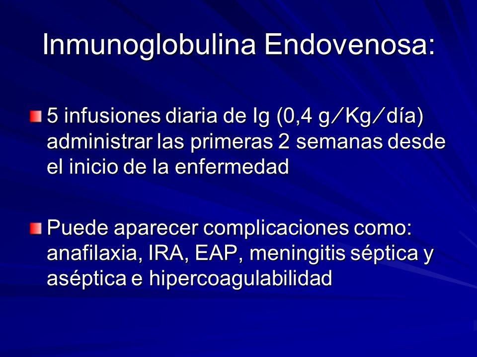 Inmunoglobulina Endovenosa: 5 infusiones diaria de Ig (0,4 g Kg día) administrar las primeras 2 semanas desde el inicio de la enfermedad Puede aparece