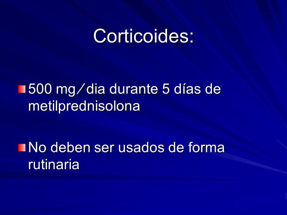 Corticoides: 500 mg dia durante 5 días de metilprednisolona No deben ser usados de forma rutinaria