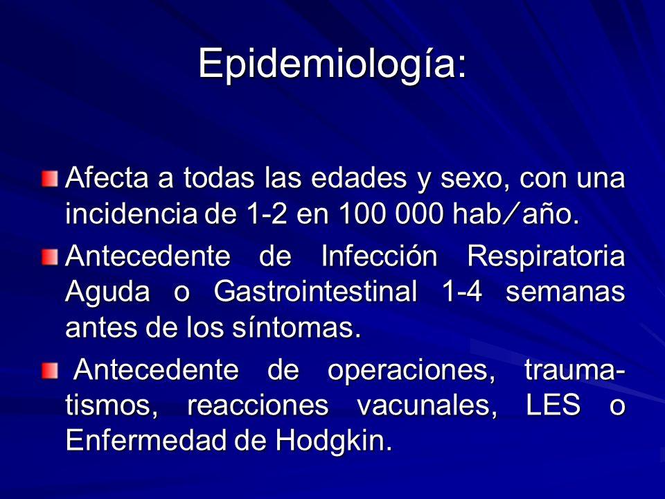 Inmunoglobulina Endovenosa: 5 infusiones diaria de Ig (0,4 g Kg día) administrar las primeras 2 semanas desde el inicio de la enfermedad Puede aparecer complicaciones como: anafilaxia, IRA, EAP, meningitis séptica y aséptica e hipercoagulabilidad