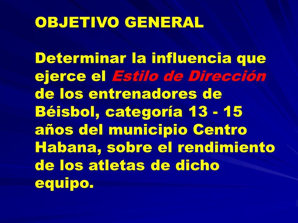 OBJETIVO GENERAL Determinar la influencia que ejerce el Estilo de Dirección de los entrenadores de Béisbol, categoría 13 - 15 años del municipio Centr