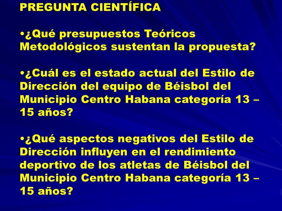PREGUNTA CIENTÍFICA ¿Qué presupuestos Teóricos Metodológicos sustentan la propuesta? ¿Cuál es el estado actual del Estilo de Dirección del equipo de B