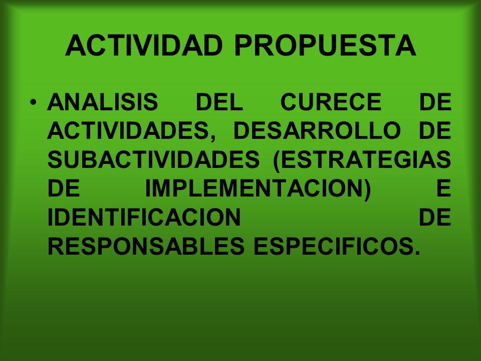 ACTIVIDAD PROPUESTA ANALISIS DEL CURECE DE ACTIVIDADES, DESARROLLO DE SUBACTIVIDADES (ESTRATEGIAS DE IMPLEMENTACION) E IDENTIFICACION DE RESPONSABLES ESPECIFICOS.