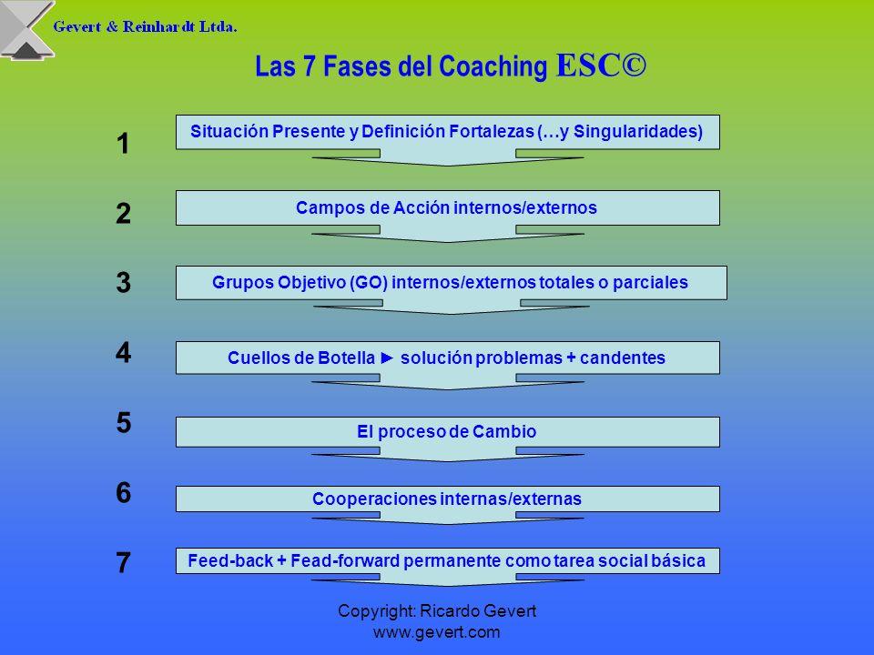 Copyright: Ricardo Gevert www.gevert.com Las 7 Fases del Coaching ESC© 1 2 3 4 5 6 7 Situación Presente y Definición Fortalezas (…y Singularidades) Ca