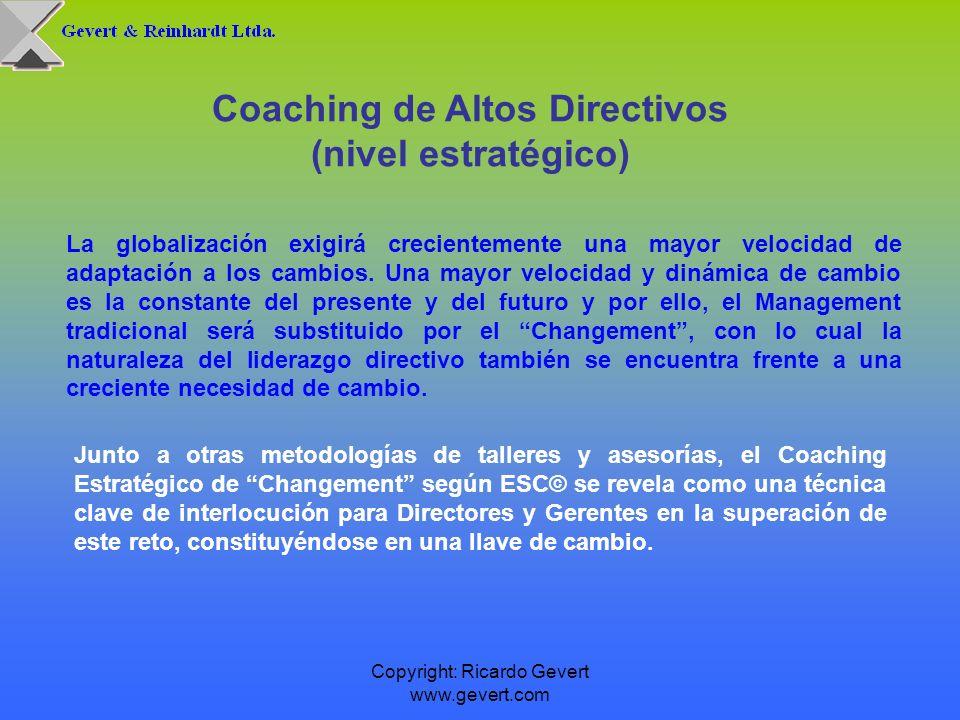 Copyright: Ricardo Gevert www.gevert.com Coaching de Altos Directivos (nivel estratégico) La globalización exigirá crecientemente una mayor velocidad