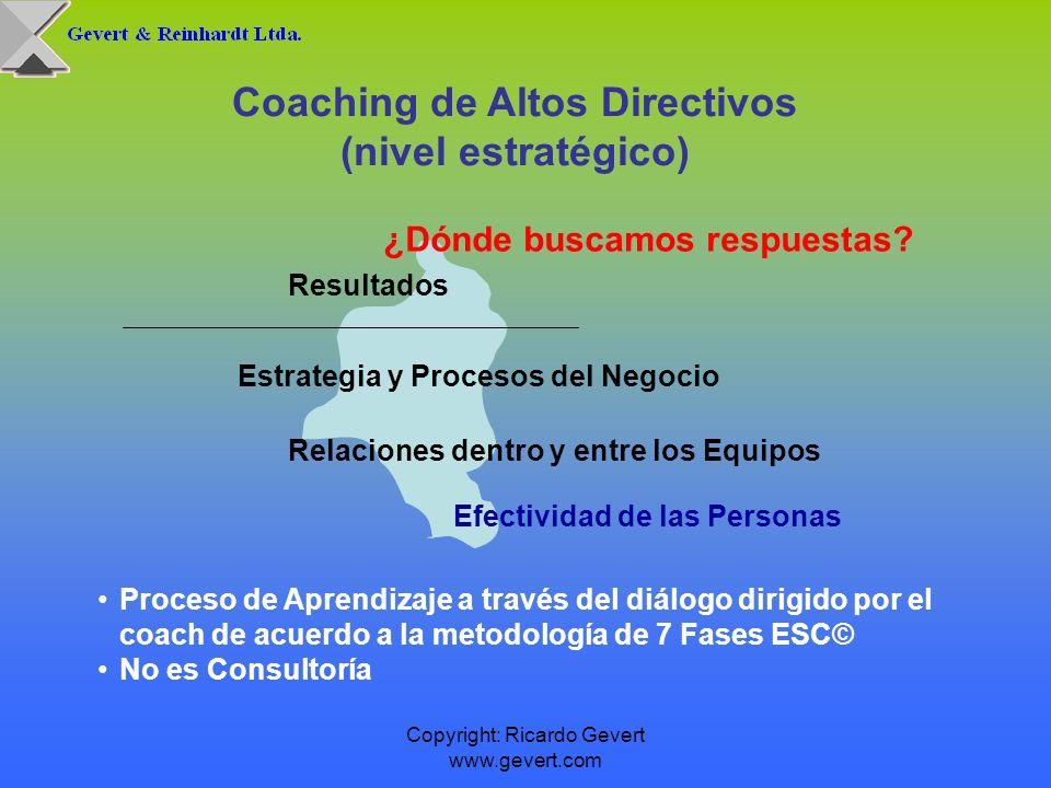Copyright: Ricardo Gevert www.gevert.com Coaching de equipos Nivel Táctico Para los niveles de gerencias y jefaturas que no pertenecen al Nivel Estratégico (Top-Management), el proceso de Coaching ESC© se realiza en forma grupal y para un máximo de 12 participantes.