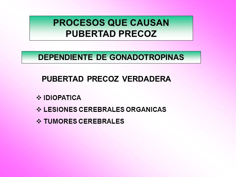 PROCESOS QUE CAUSAN PUBERTAD PRECOZ DEPENDIENTE DE GONADOTROPINAS PUBERTAD PRECOZ VERDADERA IDIOPATICA LESIONES CEREBRALES ORGANICAS TUMORES CEREBRALE