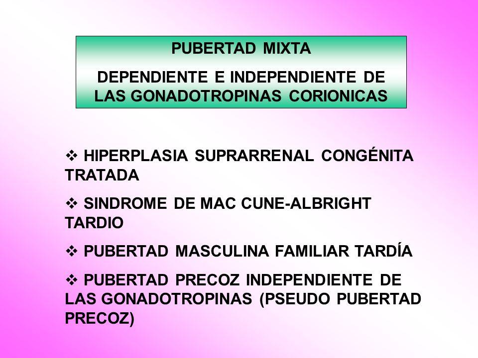 PUBERTAD MIXTA DEPENDIENTE E INDEPENDIENTE DE LAS GONADOTROPINAS CORIONICAS HIPERPLASIA SUPRARRENAL CONGÉNITA TRATADA SINDROME DE MAC CUNE-ALBRIGHT TA