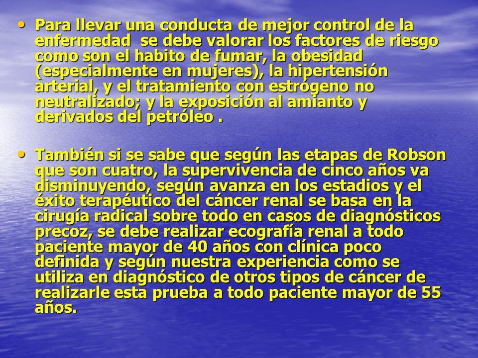 Para llevar una conducta de mejor control de la enfermedad se debe valorar los factores de riesgo como son el habito de fumar, la obesidad (especialme