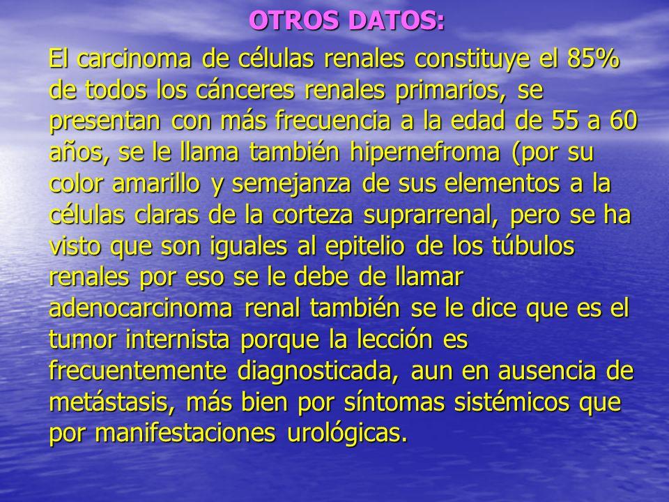 OTROS DATOS: OTROS DATOS: El carcinoma de células renales constituye el 85% de todos los cánceres renales primarios, se presentan con más frecuencia a