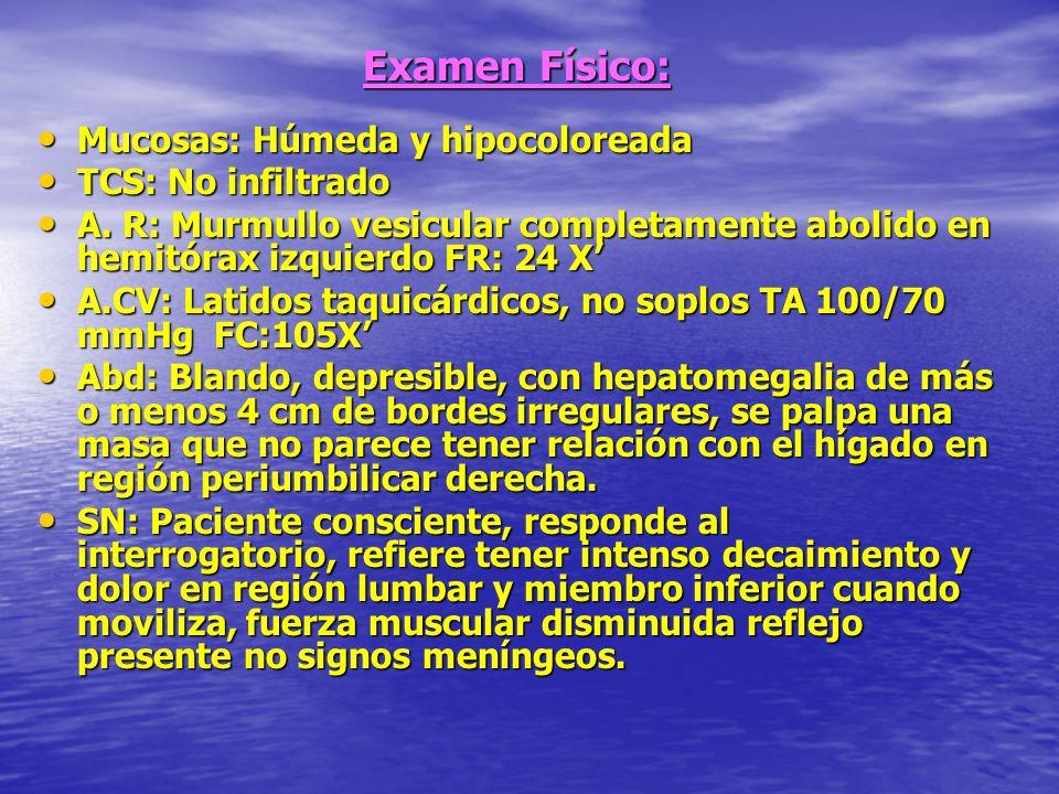 Examen Físico: Mucosas: Húmeda y hipocoloreada Mucosas: Húmeda y hipocoloreada TCS: No infiltrado TCS: No infiltrado A. R: Murmullo vesicular completa