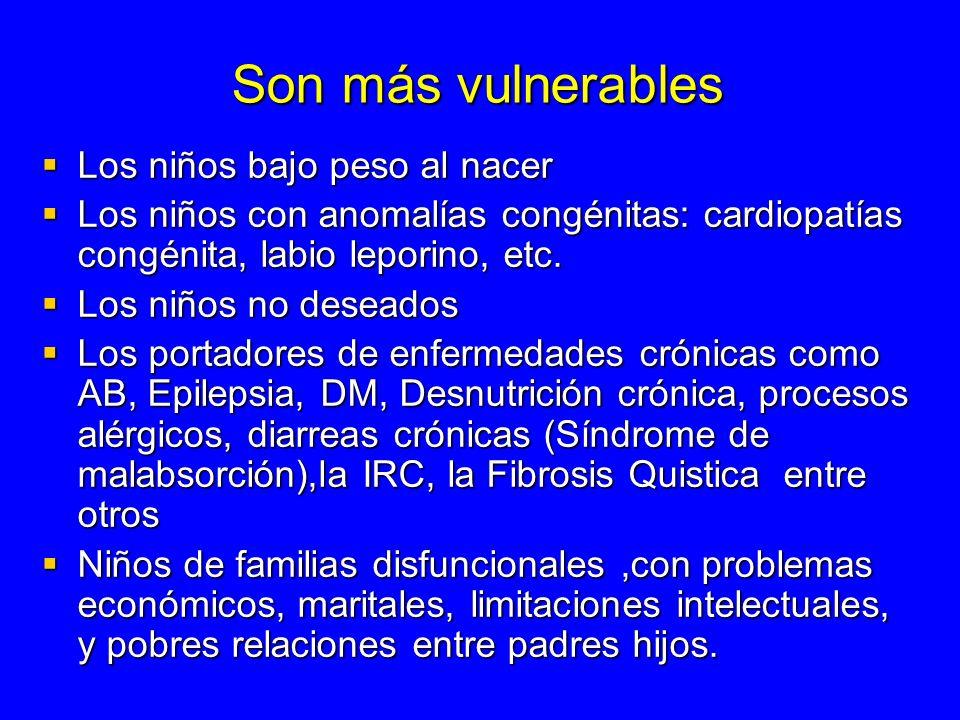 Son más vulnerables Los niños bajo peso al nacer Los niños bajo peso al nacer Los niños con anomalías congénitas: cardiopatías congénita, labio lepori