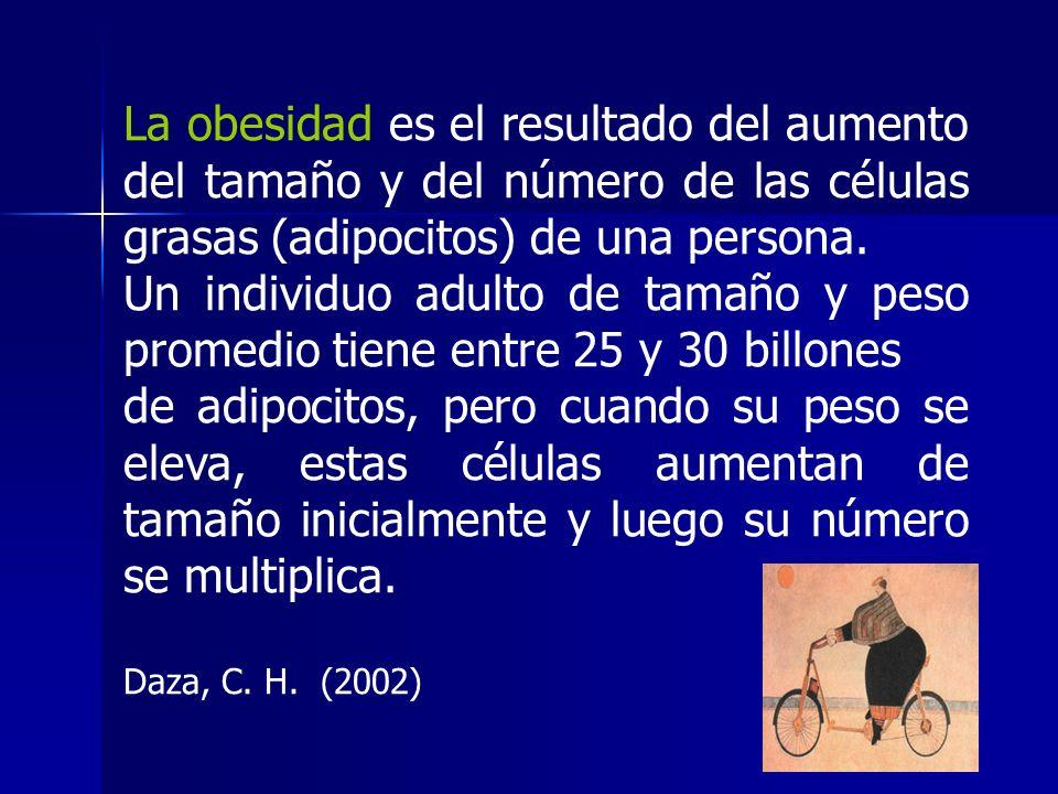 La obesidad es el resultado del aumento del tamaño y del número de las células grasas (adipocitos) de una persona. Un individuo adulto de tamaño y pes