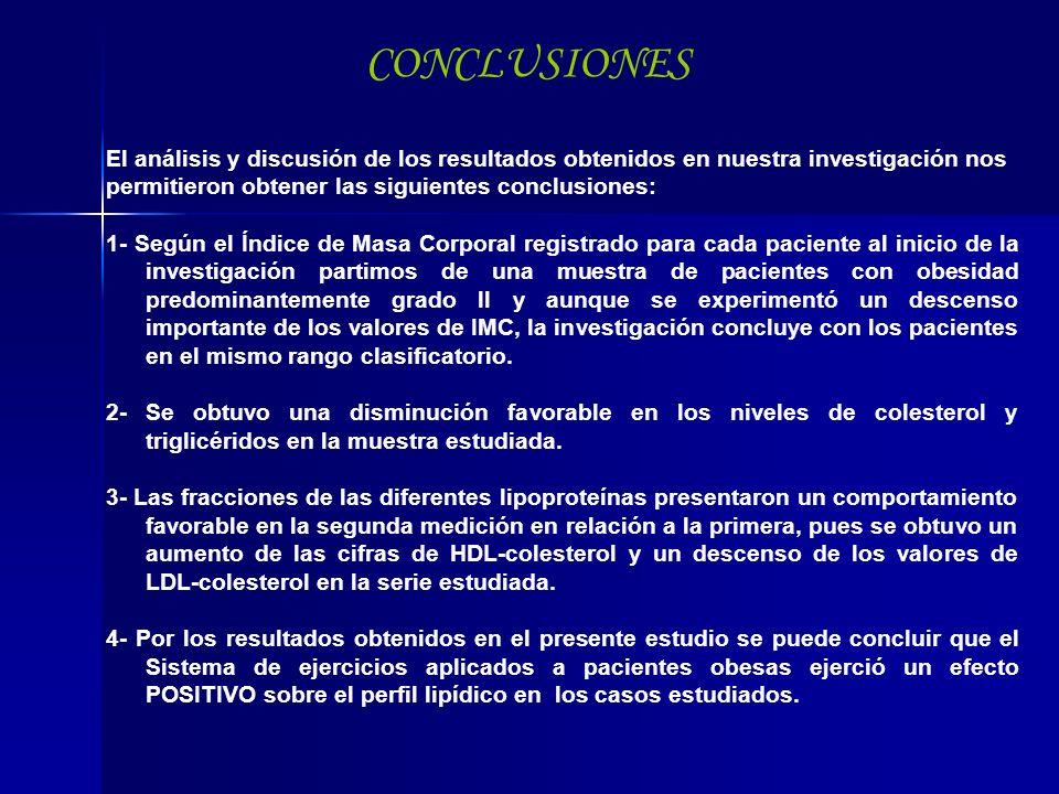 CONCLUSIONES El análisis y discusión de los resultados obtenidos en nuestra investigación nos permitieron obtener las siguientes conclusiones: 1- Segú