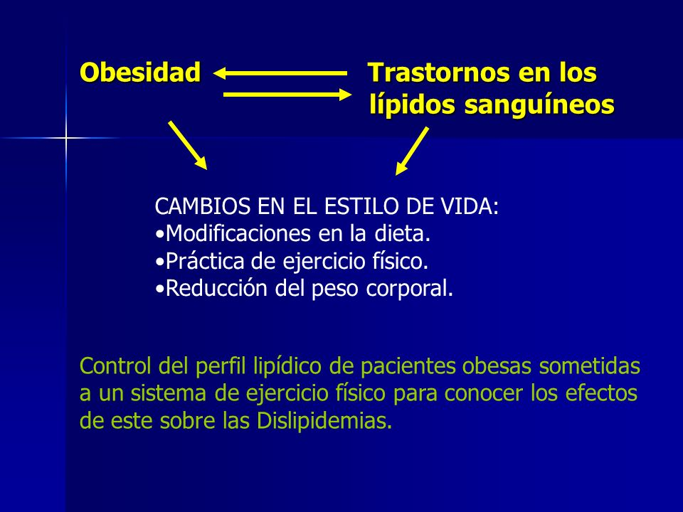 Obesidad Trastornos en los lípidos sanguíneos lípidos sanguíneos CAMBIOS EN EL ESTILO DE VIDA: Modificaciones en la dieta. Práctica de ejercicio físic