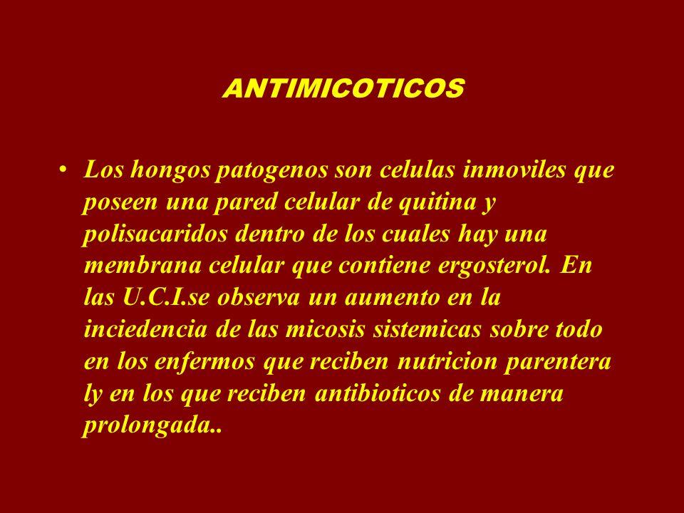 ANTIMICOTICOS IMIDAZOLES TRIAZOLES.= FLUCONAZOLE.- Espectro.- Candida Criptococus neoformans Histoplasma capsulatum Blastomyces dermatitides Coccidioides minitis Paracoccidiodes brasilensis Dermatofitos (Trichophiton Microsporun, Epidermophiton y Curvaliria) Efectos adversos Manifestaciones gastrointestinales nauseas anorexia vomitos diarreas elevacion de transaminasa menos hepatotoxico que el ketoconazol Dosis de 500-800por dia VO EV 4 subdosis Vial 100 y 200mg caps.- 50,100,150,200mg.