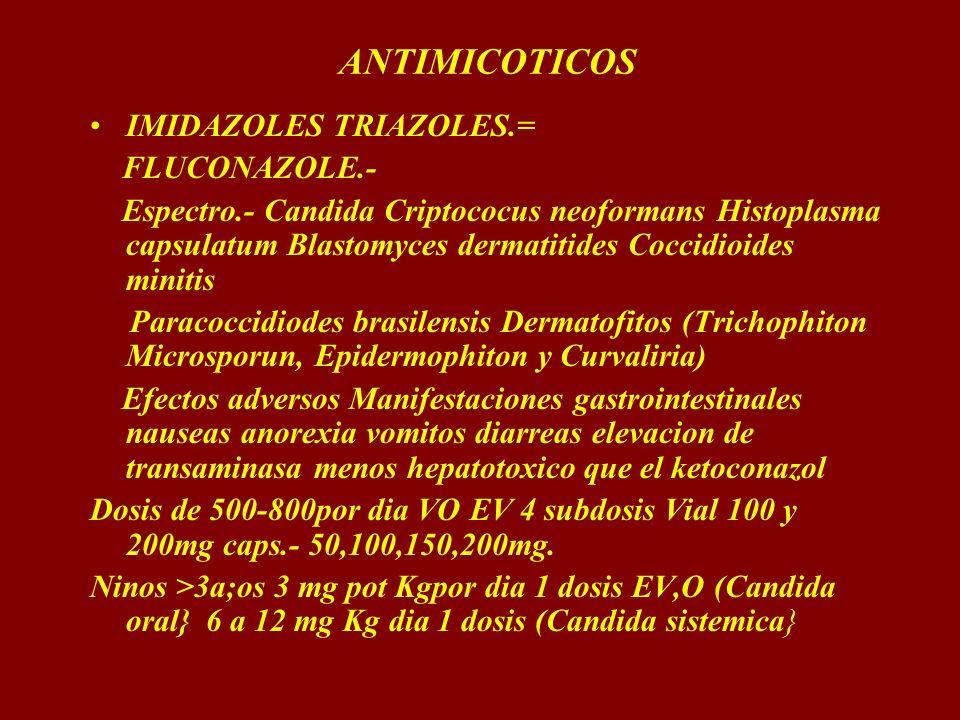 ANTIMICOTICOS IMIDAZOLES TRIAZOLES.= FLUCONAZOLE.- Espectro.- Candida Criptococus neoformans Histoplasma capsulatum Blastomyces dermatitides Coccidioi