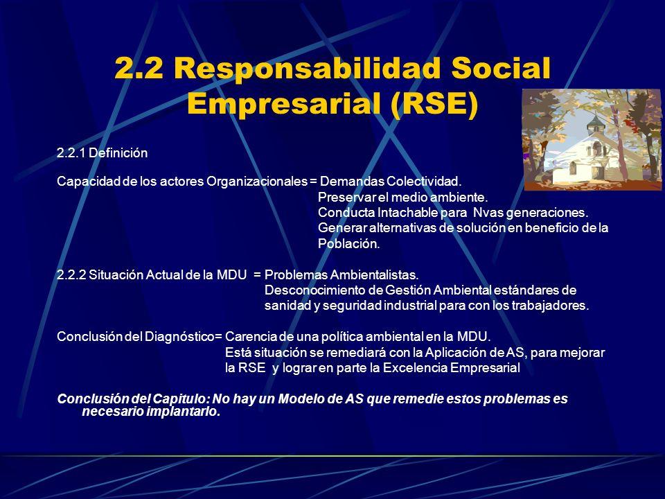 2.2 Responsabilidad Social Empresarial (RSE) 2.2.1 Definición Capacidad de los actores Organizacionales = Demandas Colectividad. Preservar el medio am