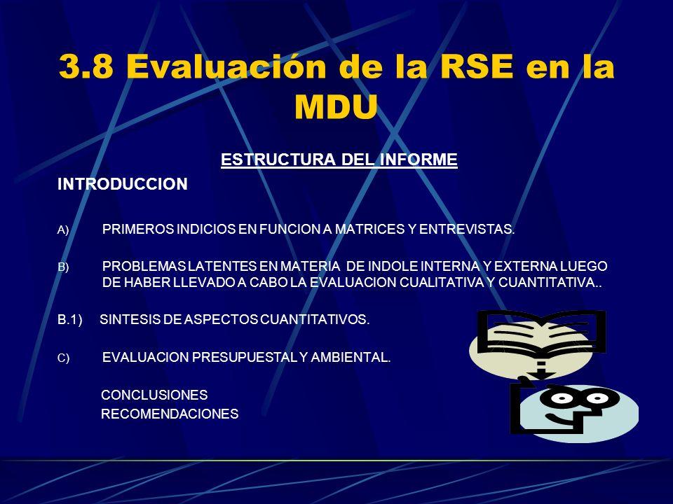 3.8 Evaluación de la RSE en la MDU ESTRUCTURA DEL INFORME INTRODUCCION A) PRIMEROS INDICIOS EN FUNCION A MATRICES Y ENTREVISTAS. B) PROBLEMAS LATENTES
