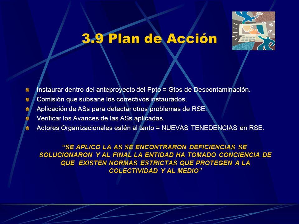 3.9 Plan de Acción Instaurar dentro del anteproyecto del Ppto = Gtos de Descontaminación. Comisión que subsane los correctivos instaurados. Aplicación