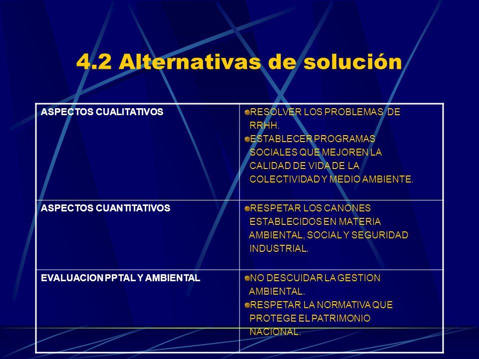 4.2 Alternativas de solución ASPECTOS CUALITATIVOSRESOLVER LOS PROBLEMAS DE RRHH. ESTABLECER PROGRAMAS SOCIALES QUE MEJOREN LA CALIDAD DE VIDA DE LA C