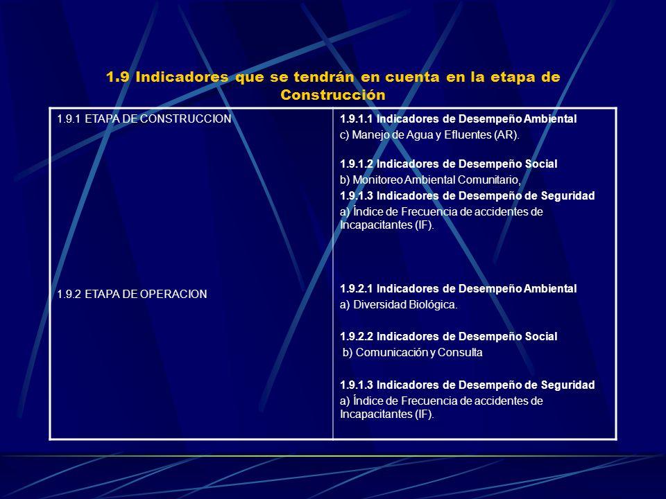 1.9 Indicadores que se tendrán en cuenta en la etapa de Construcción 1.9.1 ETAPA DE CONSTRUCCION 1.9.2 ETAPA DE OPERACION 1.9.1.1 Indicadores de Desem