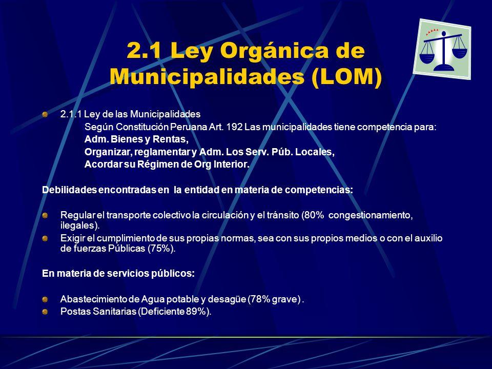 2.1 Ley Orgánica de Municipalidades (LOM) 2.1.1 Ley de las Municipalidades Según Constitución Peruana Art. 192 Las municipalidades tiene competencia p