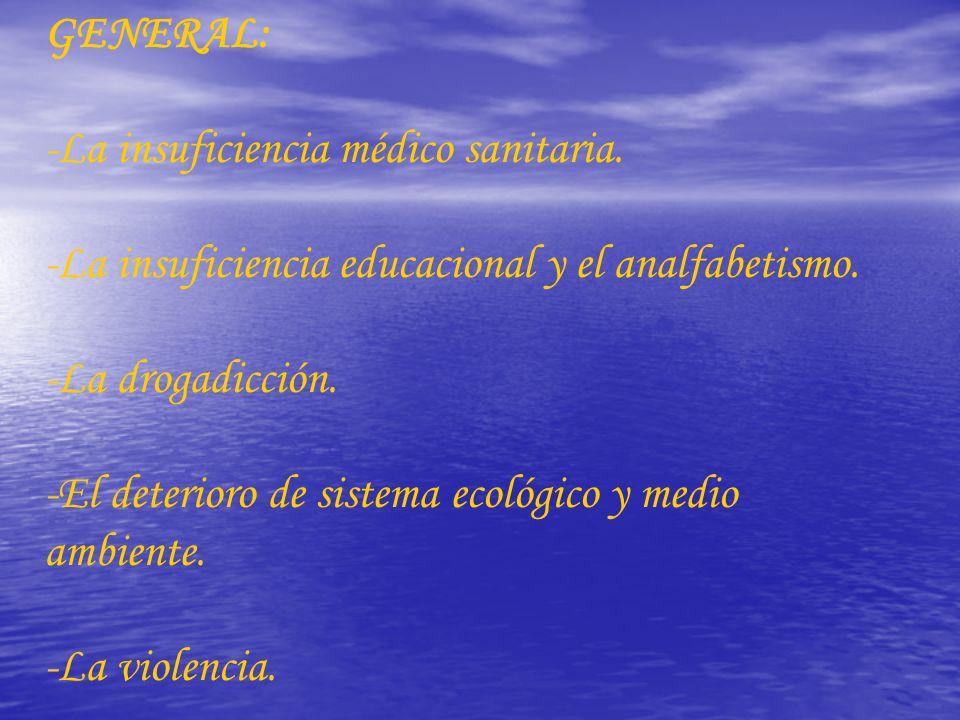 GENERAL: -La insuficiencia médico sanitaria. -La insuficiencia educacional y el analfabetismo. -La drogadicción. -El deterioro de sistema ecológico y