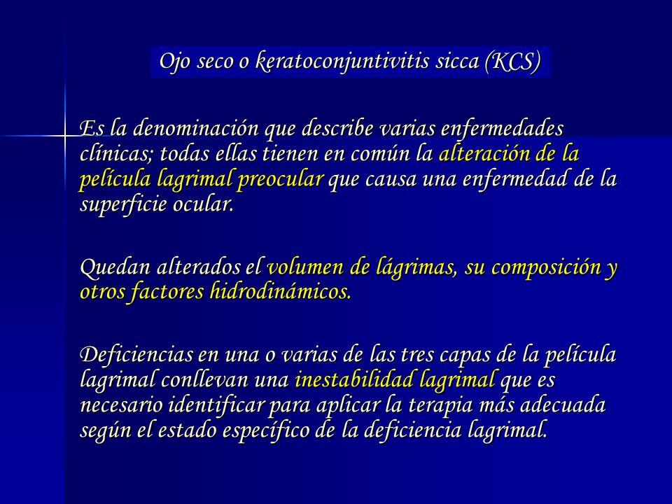 Es la denominación que describe varias enfermedades clínicas; todas ellas tienen en común la alteración de la película lagrimal preocular que causa un