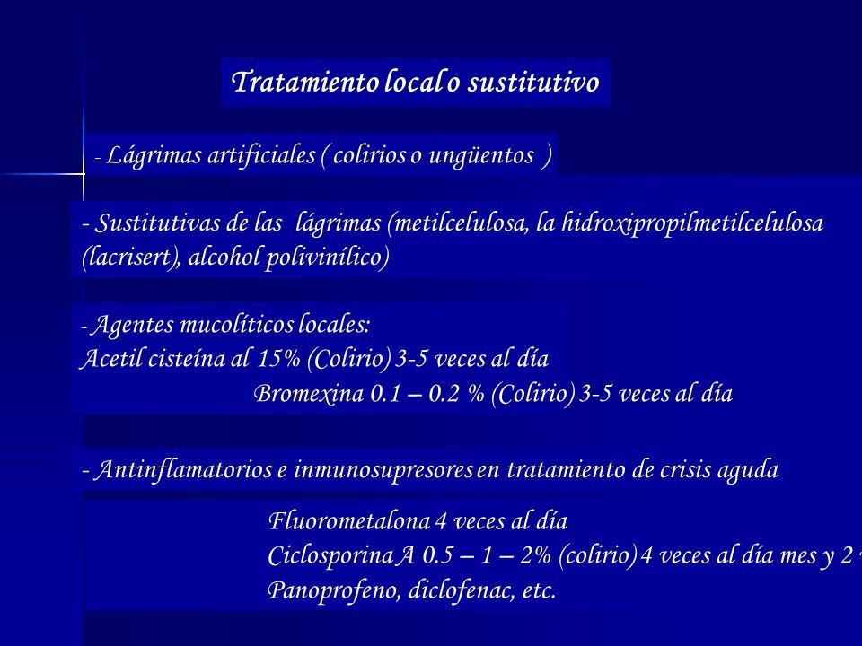 Tratamiento local o sustitutivo - Lágrimas artificiales ( colirios o ungüentos ) - Sustitutivas de las lágrimas (metilcelulosa, la hidroxipropilmetilc