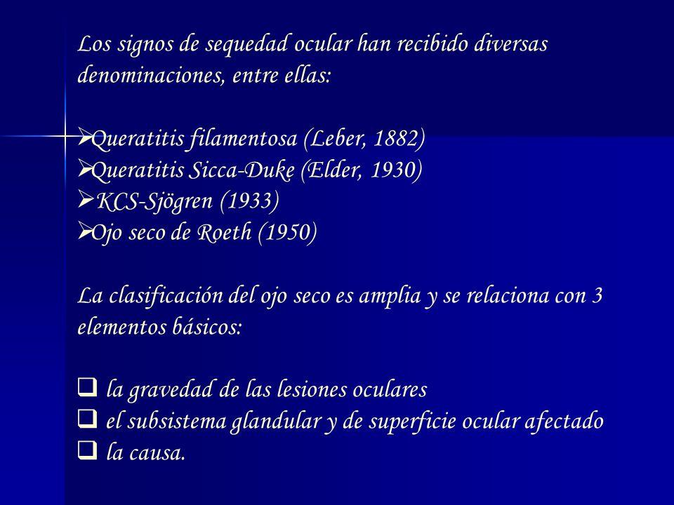 Los signos de sequedad ocular han recibido diversas denominaciones, entre ellas: Queratitis filamentosa (Leber, 1882) Queratitis Sicca-Duke (Elder, 19