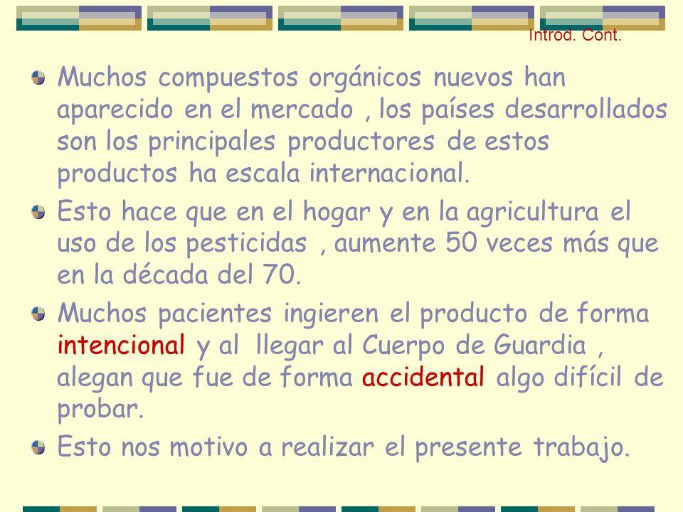Muchos compuestos orgánicos nuevos han aparecido en el mercado, los países desarrollados son los principales productores de estos productos ha escala