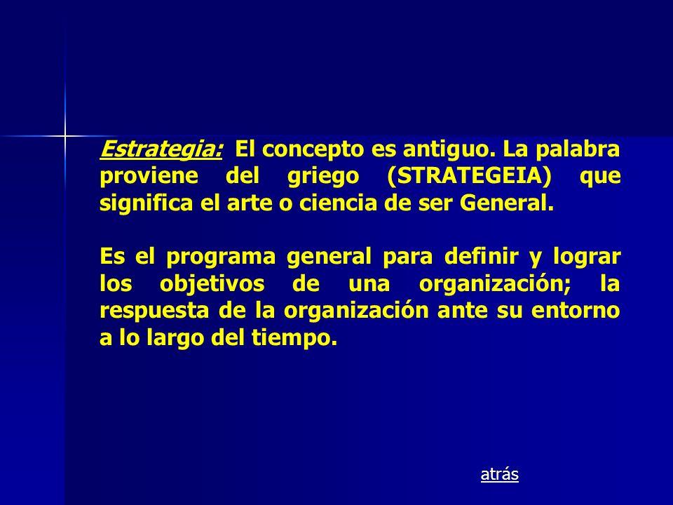 Estrategia: El concepto es antiguo. La palabra proviene del griego (STRATEGEIA) que significa el arte o ciencia de ser General. Es el programa general