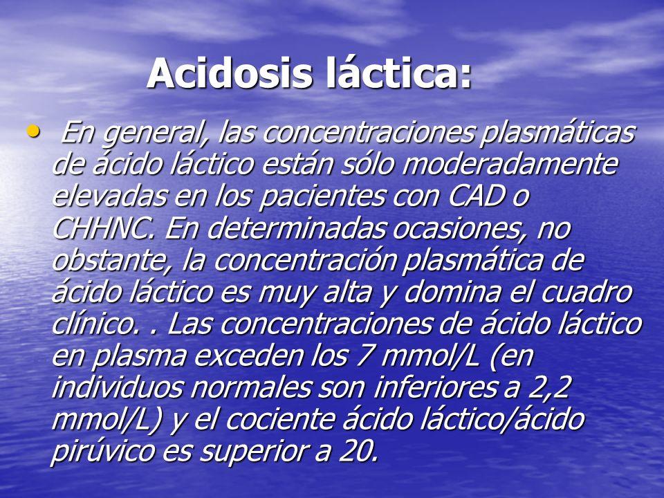 Acidosis láctica: Acidosis láctica: En general, las concentraciones plasmáticas de ácido láctico están sólo moderadamente elevadas en los pacientes co