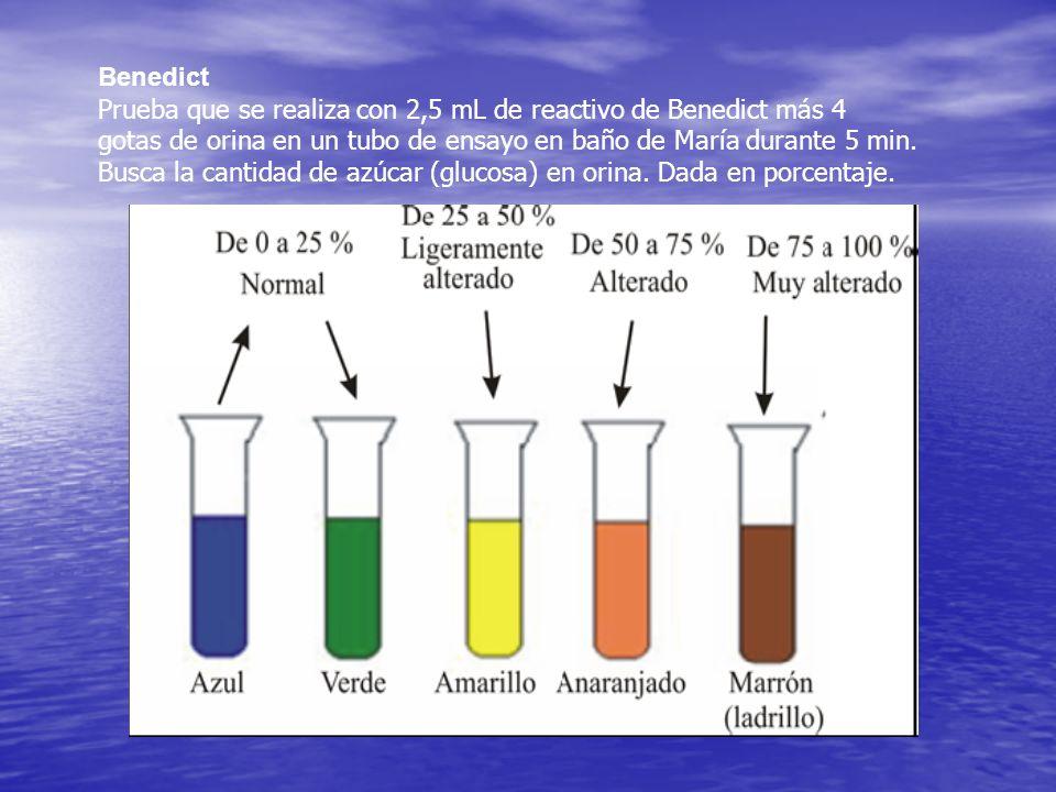 Benedict Prueba que se realiza con 2,5 mL de reactivo de Benedict más 4 gotas de orina en un tubo de ensayo en baño de María durante 5 min. Busca la c