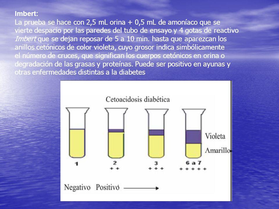 Imbert: La prueba se hace con 2,5 mL orina + 0,5 mL de amoníaco que se vierte despacio por las paredes del tubo de ensayo y 4 gotas de reactivo Imbert